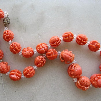 1930's Celluloid scarab necklace - Costume Jewelry