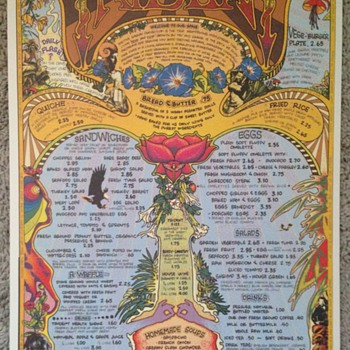 The Trident ~ Flower Power Hippie Menu from San Francisco Bay area - Paper