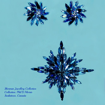 Sherman Snowflake or Bethleham Star Brooch in light blue, Peacock and Montana Blue - Costume Jewelry