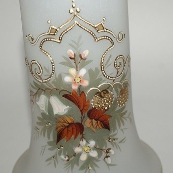 Lovely Vintage Enameled Glass Vase - Glassware