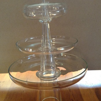 Three tier glass serving tray
