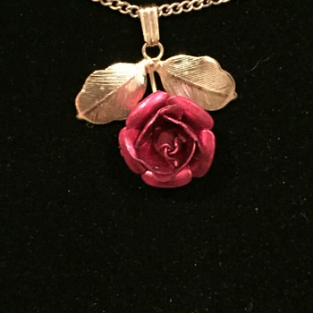 Red Rose and Gold Necklace - Costume Jewelry