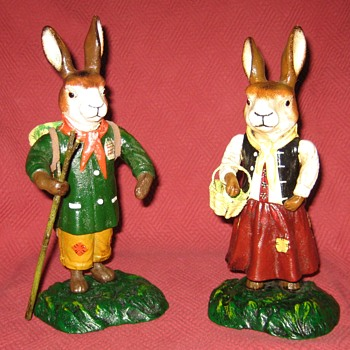 German Made Cast Iron Rabbits (Reproductions) - Animals