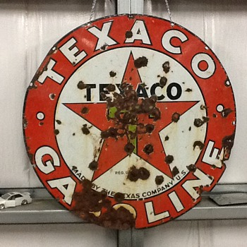 Texaco single sided 1920's station sign - Petroliana