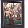 Opaque Engraved and Colored Glass Panel / Two Galleons in Port / Unknown Maker and Age