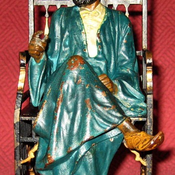 Antique Vienna Bronze Turkish Man In Chair - Art Deco