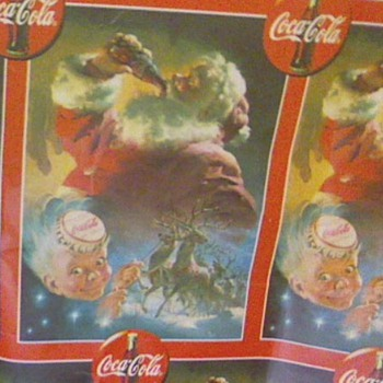 "Coca Cola christmas  paper  . What year?  The print from Coca-Cola Cap is 4"" by 5"". I have a piece 30"" by 6' ? - Christmas"