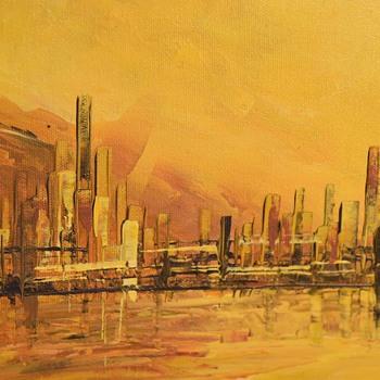 Large Midcentury Cityscape - San Francisco - by Anna Chrasta - Fine Art