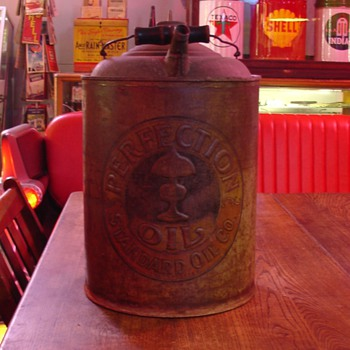 Perfection Lamp Oil...Standard Oil Company...Embossed Five Gallon Can With Wood Handle...Dates 1901 to 1916