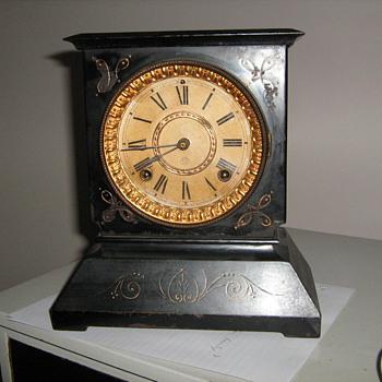 1800 Ansonian New York cast iron, brass and wood clock - Clocks