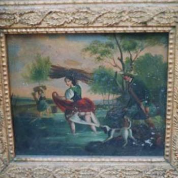 Painting on Tin Hunter and his Dog and Young Maiden?? - Fine Art