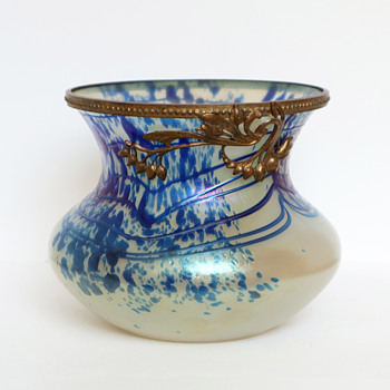 Iridescent Heckert Vase with Blue Threading and Spots - Art Glass