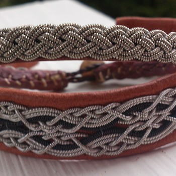 Sami Jewelry - handmade bracelet made of braids of pewter wire and raindeer leather  - Costume Jewelry