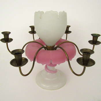 Bohemian Harrach or JH opaline Candelabra Epregne with Applied Serpent - Art Glass
