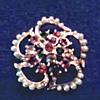 """Coro"" Faux Pearl and Aurora Borealis Crystal Brooch / Circa 1960"