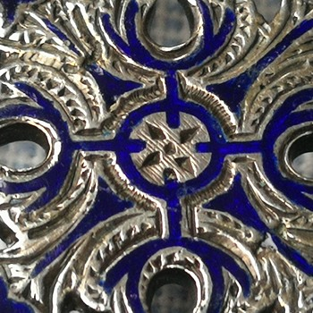 Victorian scottish silver and royal blue enamel brooch - Fine Jewelry