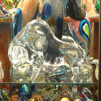 "Murano - Licio Zanetti - Crystal Bull - 8"" x 11"" - Signed - Art Glass"