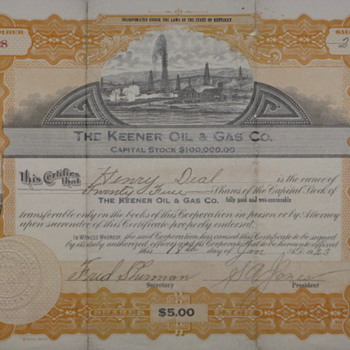 "Old ""Keener Oil and Gas"" Stock certificate - Paper"