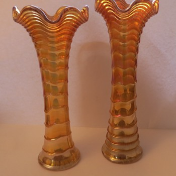 Marigold Imperial Carnival Glass Vases Collectors Weekly