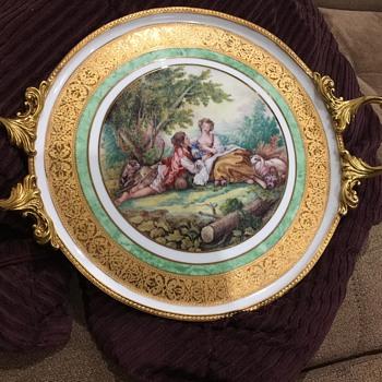 "L'etoile Porcelain de Limoges France Rehausse Main 12"" Trivet Plate. Gilt Gold Scrolling. Gold Finish Cast Handles/Perimeter. - China and Dinnerware"