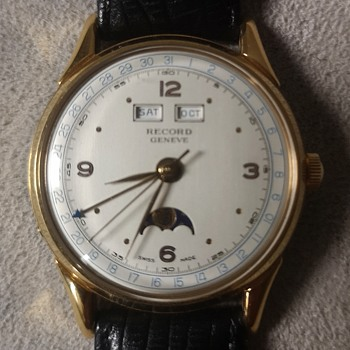 Record Geneve 1940s Datofix triple date and moonphase  - Wristwatches