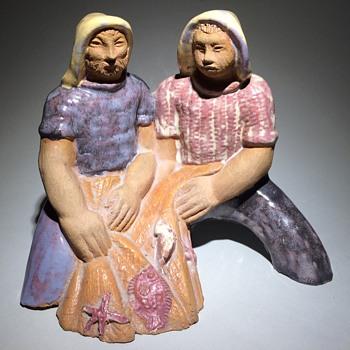 Glazed terrakottasculpture. Two fishermen. - Figurines
