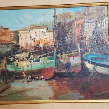 1950s Oil Painting Fisherman, Boats & Seaside -  Help Identify Artist Signature - Fine Art