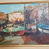 1950s Oil Painting Fisherman, Boats & Seaside -  Help Identify Artist Signature