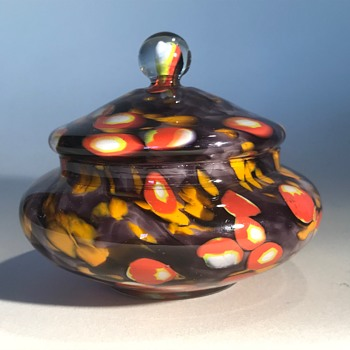 Kralik Candy or Lidded Bowl - Art Glass
