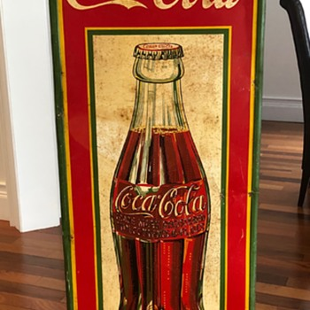 1930's Coca-Cola Vertical Tin Sign - Coca-Cola