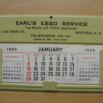 1956 CALENDER SALESMAN SAMPLE  - Petroliana