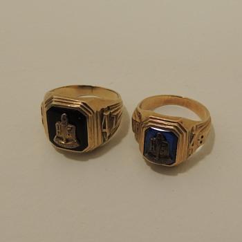 1947 & 1948 High School Rings - Irvington, NJ - 10K Yellow Gold - Fine Jewelry
