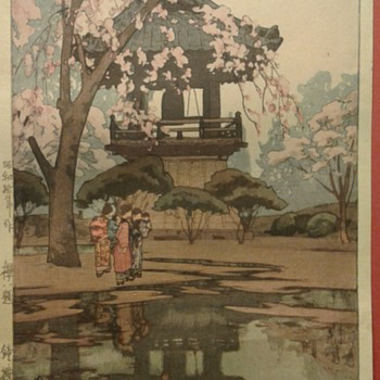 Woodblock Print of... In a Temple Yard. - Asian