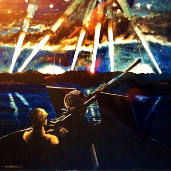 MORE ORIGINAL WW2 BATTLE SCENE PAINTINGS FROM THE PACIFIC - Military and Wartime