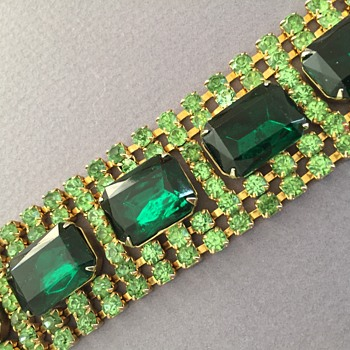 Vintage Green Rhinestone Bracelet for St. Patrick's Day - Costume Jewelry