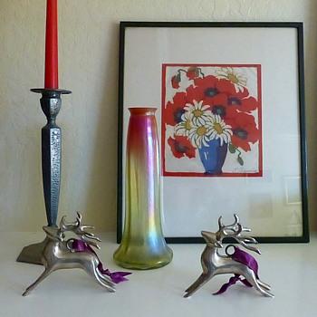 Christmas Colors: Rindskopf Grenada Vase - Art Glass