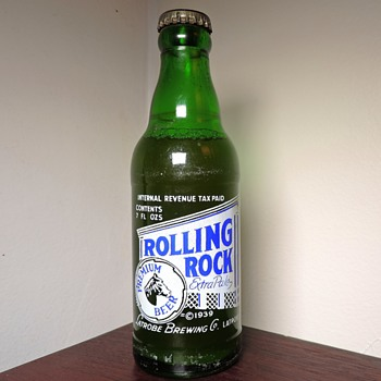1948 Rolling Rock Beer Bottle Latrobe Brewing Pennsylvania Green Pony 7 Ounces Glass ACL Owens-Illinois Full Sealed Unopened  - Bottles