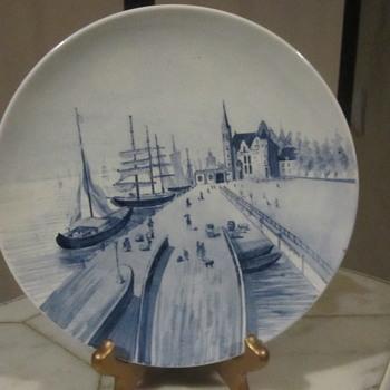 "Villeroy & Boch Mettlach Rare Harbor, Sailboat, Village Scene.9"" Early Mark - Pottery"