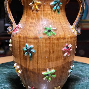 Handled Vase with Molded Flowers Applied - Pottery