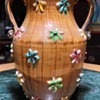 Handled Vase with Molded Flowers Applied