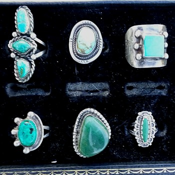 Six antique Navajo silver rings - Fine Jewelry