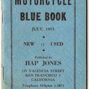 "1953-1955 ""Hap Jones"" Motorcycle Blue Books - Paper"