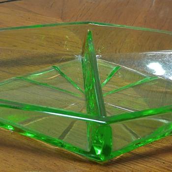 Uranium Glass Divided Dish - Glassware