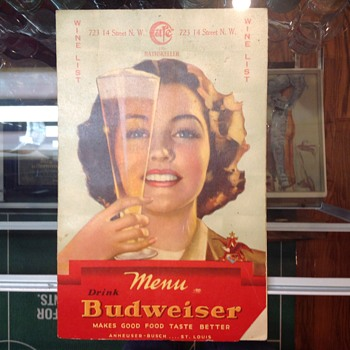 Budweiser 1950's wine list - Breweriana