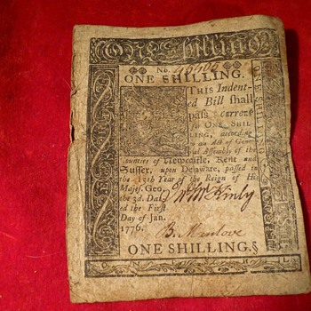 Colonial American Currency  .  .  .  1776 - US Paper Money