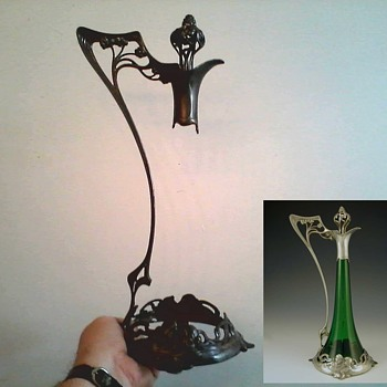 """ WMF "" Germany ""Art Nouveau"" Jugendstil Claret Jug Pewter Mount with Stopper / Hall Marked on Foot / Circa 1906 - Art Nouveau"
