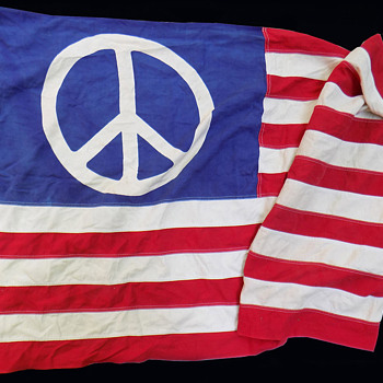 #16 ~ 3) Hippie Peace Sign Flags including 3' x 5' San Francisco original - Military and Wartime
