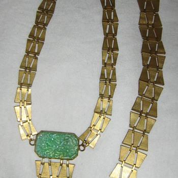 Peking glass & brass or gold necklace & bracelet - Costume Jewelry