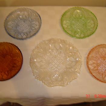 Id request. Pressed glass plates - Glassware