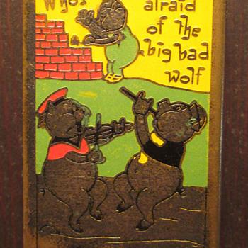 Antique Nursery Rhyme 3 Little Pigs Enamelled Match Box Holder